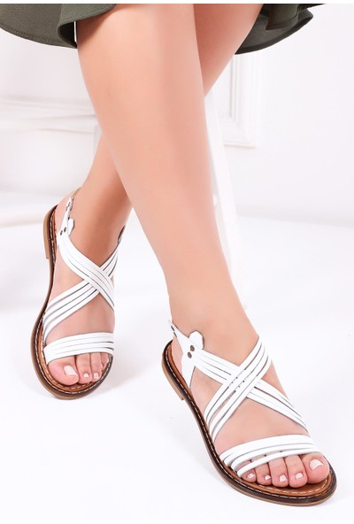 Deripabuc Hakiki Deri BEYAZ Kadın Sandalet DP28-0863