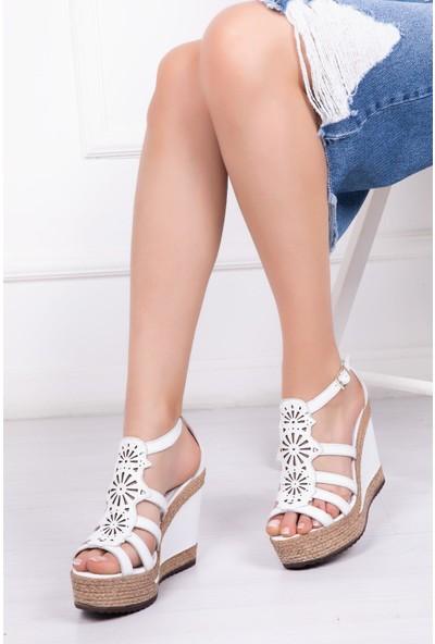 Deripabuc Hakiki Deri BEYAZ Kadın Sandalet DP42-0702