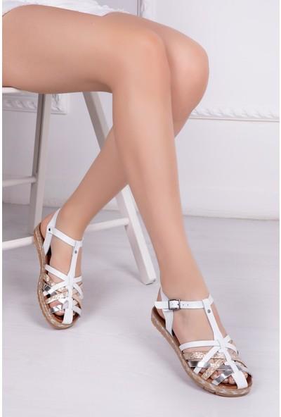 Deripabuc Hakiki Deri BEYAZ Kadın Sandalet RMA-7181