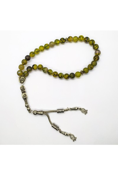 AlpCollection Akik Doğaltaş 33'lük Tesbih Yeşil