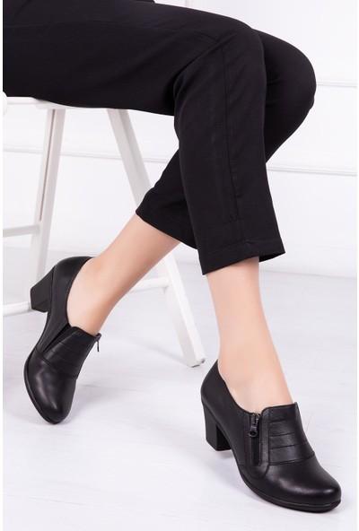 Deripabuc Hakiki Deri SİYAH Kadın Topuklu Ayakkabı CRZ-1011