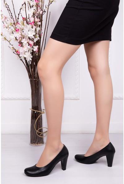 Deripabuc Hakiki Deri SİYAH Kadın Topuklu Ayakkabı DP06-0001