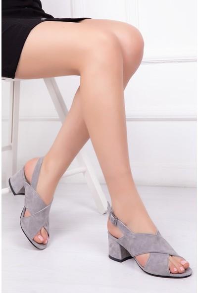 Deripabuc Hakiki Deri GRİ SÜET Kadın Topuklu Ayakkabı DP34-0508