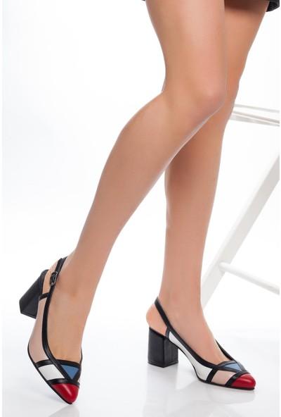 Deripabuc Hakiki Deri Pudra Beyaz Kadın Topuklu Deri Ayakkabı Shn-0075