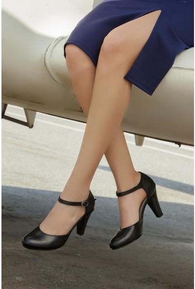 Deripabuc Hakiki Deri SİYAH Kadın Topuklu Ayakkabı SHN-0113