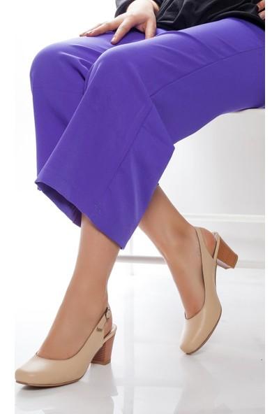 Deripabuc Hakiki Deri BEJ Kadın Topuklu Ayakkabı SHN-0119