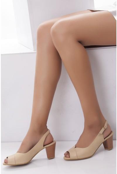 Deripabuc Hakiki Deri BEJ Kadın Topuklu Ayakkabı SHN-0318