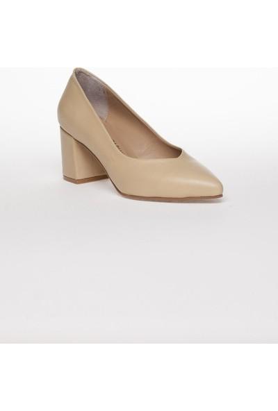 Deripabuc Hakiki Deri BEJ Kadın Topuklu Ayakkabı SHN-1930