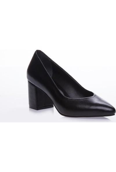 Deripabuc Hakiki Deri SİYAH Kadın Topuklu Ayakkabı SHN-1930