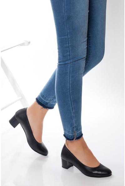Deripabuc Hakiki Deri Siyah Kadın Topuklu Deri Ayakkabı Shn-0057