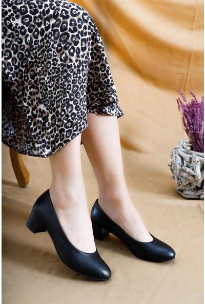 Deripabuc Hakiki Deri SİYAH Kadın Topuklu Klasik Ayakkabı SHN-0057