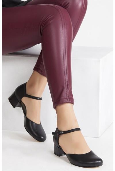 Deripabuc Hakiki Deri SİYAH Kadın Topuklu Klasik Ayakkabı SHN-0136