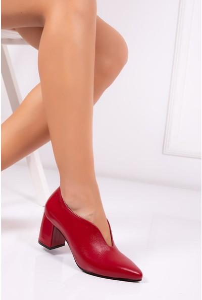 Deripabuc Hakiki Deri KIRMIZI Kadın Topuklu Klasik Ayakkabı SHN-0227