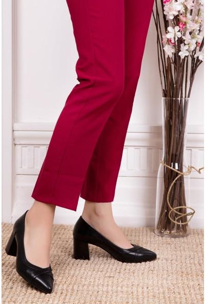 Deripabuc Hakiki Deri SİYAH Kadın Topuklu Klasik Ayakkabı SHN-0722