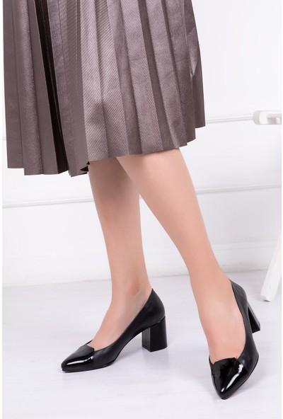 Deripabuc Hakiki Deri SİYAH Kadın Topuklu Klasik Ayakkabı SHN-0728