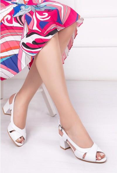 Deripabuc Hakiki Deri BEYAZ Kadın Topuklu Klasik Ayakkabı SHN-0729