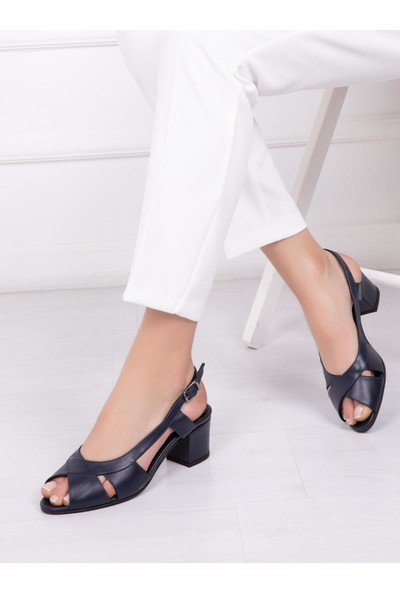 Deripabuc Hakiki Deri LACİVERT Kadın Topuklu Klasik Ayakkabı SHN-0729