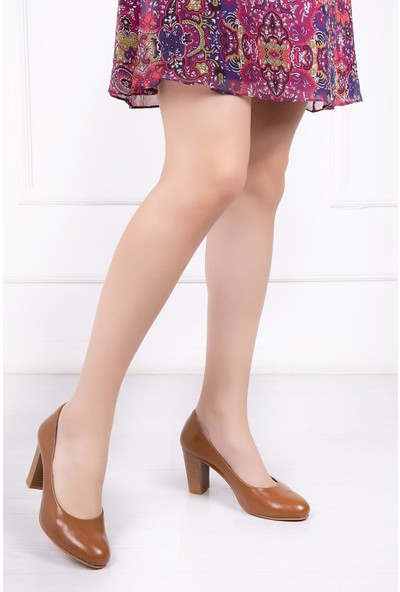 Deripabuc Hakiki Deri TABA Kadın Topuklu Klasik Ayakkabı SHN-0736