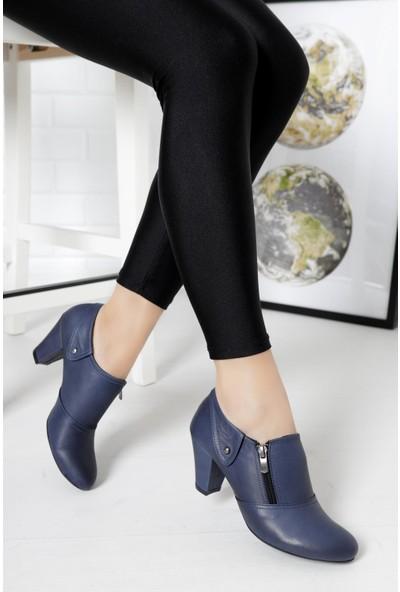 Deripabuc Hakiki Deri LACİVERT Kadın Topuklu Klasik Ayakkabı TRC-1069