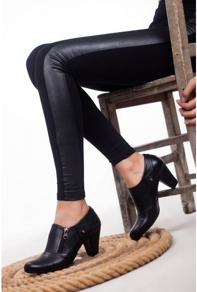 Deripabuc Hakiki Deri SİYAH Kadın Topuklu Klasik Ayakkabı TRC-1069