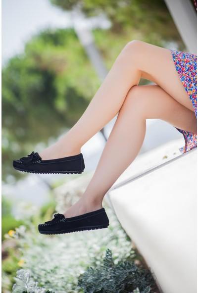 Deripabuc Hakiki Deri Siyah Nbk Kadın Deri Babet Pcc-0101
