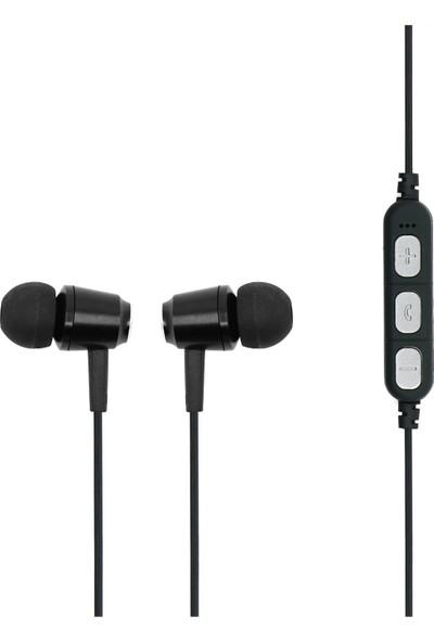 MF Product Acoustic 0130 Mikrofonlu Boyun Askılı Kulak İçi Kablosuz Bluetooth Kulaklık Siyah