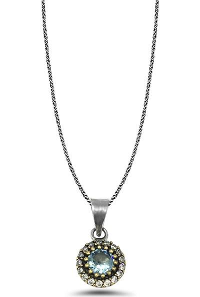 Midyat Nurtaş Gümüş Akuamarin Taşlı El Işi Otantik Gümüş Üçlü Set