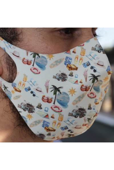 Eight Date Vacation Tatil Desenli Dijital Baskılı Yıkanabilir Yüz Maskesi VTYM_01