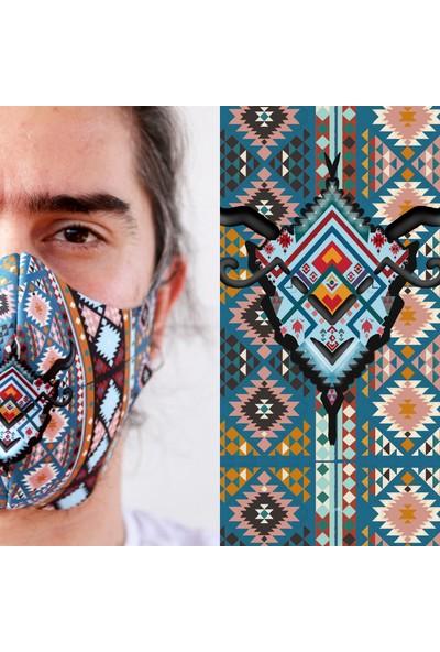 Eight Date Bohemian Goat Bohem Keçi Desenli Dijital Baskılı Yıkanabilir Yüz Maskesi BGBK_01