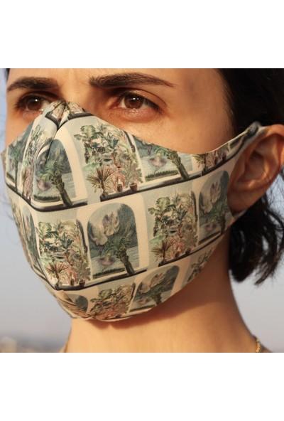 Eight Date Botanical Botanik Desenli Dijital Baskılı Yıkanabilir Sertifikalı Kadın Yüz Maskesi BBYM_01