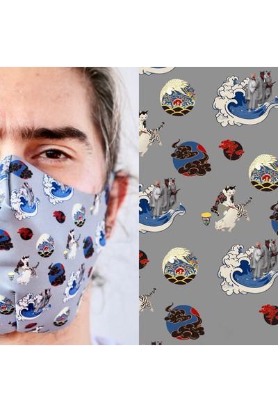 Eight Date Cats Kediler Desenli Dijital Baskılı Yıkanabilir Yüz Maskesi CKYM_01
