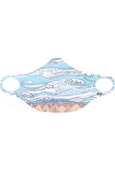 Eight Date The Wave Okyanus Desenli Dijital Baskılı Yıkanabilir Yüz Maskesi WDYM_01