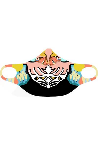Eight Date Butterfly Kelebek Desenli Dijital Baskılı Yıkanabilir Sertifikalı Kadın Yüz Maskesi BKYM_01