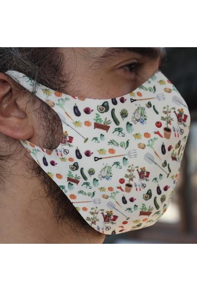 Eight Date Vegetable Sebze Desenli Dijital Baskılı Yıkanabilir Yüz Maskesi VSYM_01