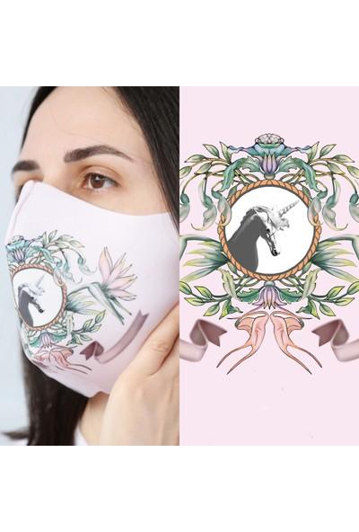 Eight Date Unicorn Desenli Dijital Baskılı Yıkanabilir Sertifikalı Kadın Yüz Maskesi UYM_01