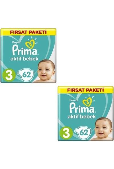Prima Bebek Bezi Aktif Bebek 3 Beden 62 x 2'li 124'LÜ Fırsat Paketi