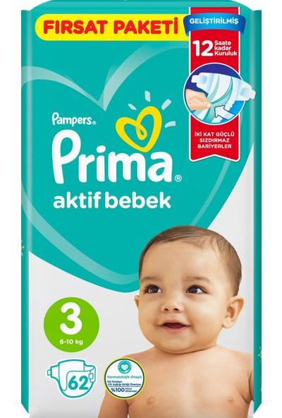 Prima Bebek Bezi Aktif Bebek 3 Beden 62 x 4'lü 248'LI Fırsat Paketi
