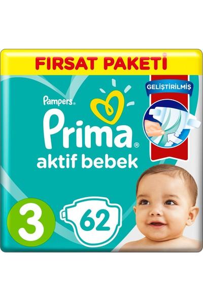 Prima Bebek Bezi Aktif Bebek 3 Beden 62 x 3'lü 186'LI Fırsat Paketi