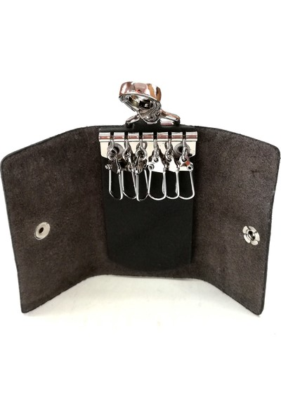 Cascades Leather Hakiki Doğal Dana Derisi Siyah Renk 6'lı Anahtarlık