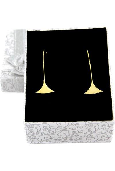 Estel Altın Kaplama Borazan Çiçeği Gümüş Küpe