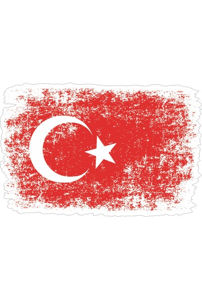 Sticker Atölyesi Eskitme Türk Bayrağı Sticker - 18074 Renkli 4 x 6 cm
