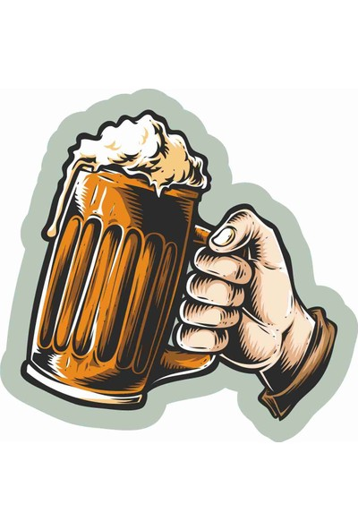 Sticker Atölyesi Bira - Beer - Şerefe - Cheers Sticker - 20561 Renkli 6 x 6 cm