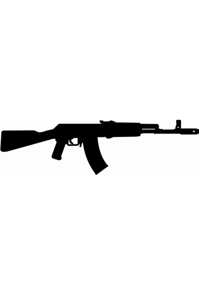 Sticker Atölyesi AK 47-Kalaşnikof-Tüfek-Gun-Silüet Sticker - 20582-1 Siyah 3 x 10 cm