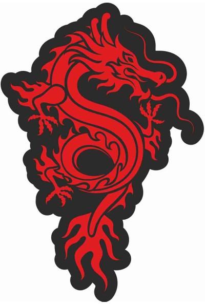 Sticker Atölyesi Kırmızı Siyah Ejderha - Dragon Sticker - 20612 Renkli 6 x 4 cm