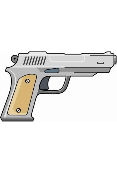 Sticker Atölyesi Tabanca - Gun Sticker -20588 Renkli 5 x 8 cm