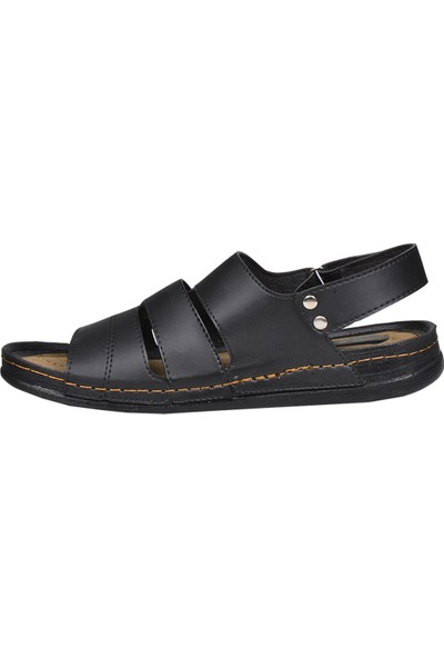 Daye 004222 Siyah Cırtlı Yazlık Erkek Sandalet