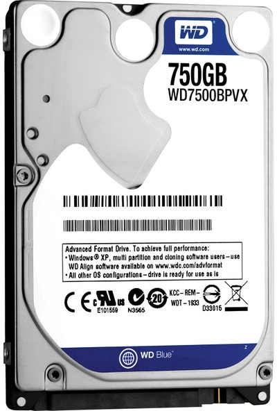 "Western Digital 2.5"" 750GB 5400RPM Sata Hard Disk WD7500BPVX"