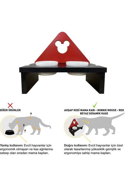 Odun Concept Beyaz Seramik Kaseli Kedi ve Küçük Irk Köpek Mama ve Su Kabı - Red Edition Minnie Mouse