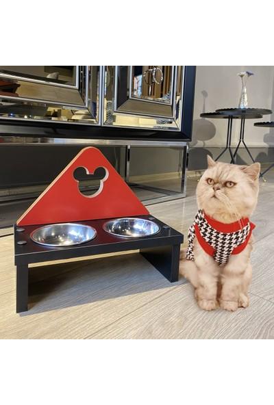 Odun Concept Paslanmaz Çelik Kaseli Kedi ve Küçük Irk Köpek Mama ve Su Kabı - Red Edition Minnie Mouse