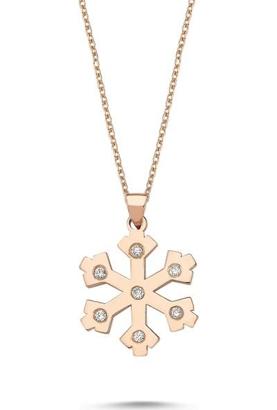 Arev Diamond Pırlanta Taşlı Rose Altın Kar Tanesi Kolye GR02147